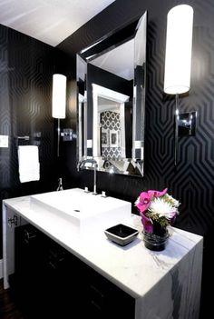 powder room: walls - do stencil; sconces - love desire to inspire - desiretoinspire.net - Atmosphere Interior Design