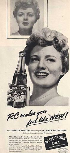 Royal Crown Cola print ad Rare 50 s B W Illustration Shelley Winters 1951 Life Magazine Art Vintage Ads, Vintage Prints, Vintage Posters, Retro Ads, Vintage Images, Celebrity Advertising, Shelley Winters, Rc Cola, Magazine Ads