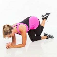 From an all fours position, bend elbows to the floor below shoulders and clasp hands together. Bend left knee behind right, curling left heel in closer to body, pointing toes.