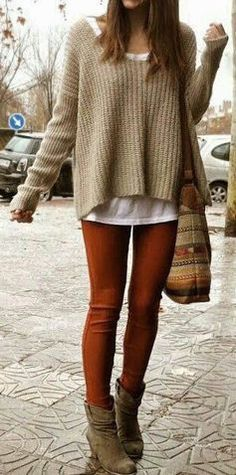 #fall #fashion / knit + red