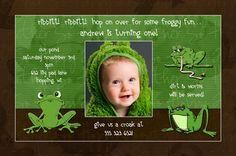 Little Green Frog Birthday Invitation (Optional Photo) - Party Boy!