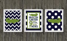 Alligator nursery decor birth announcement by customedgestudio