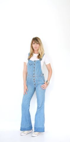 Vintage Fitted Overalls Coveralls 70s Button Down Bell Bottom Flares Hang Ten Medium - Large by VintageReBelle on Etsy