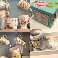 Juan Pablo Repetto - Café en Capital Federal Four Square, Tea Cups, Porcelain, Mugs, Tableware, Country, Federal, Painted Porcelain, Painted Ceramics
