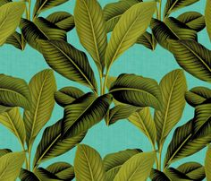 Palm In Palm ~ Tropical Blue Linen by peacoquettedesigns