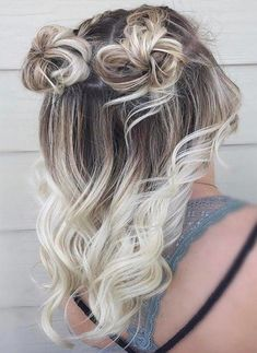 Awesome Combo Space buns With Beach Blonde Ombre Hair Color