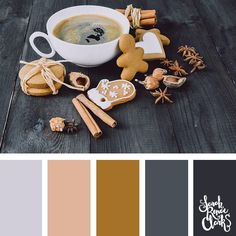 Warm gingerbread color inspo // Christmas Color Schemes // Click for more Christmas color palettes, mood boards and color combinations at https://sarahrenaeclark.com #color #colorscheme #colorpalette