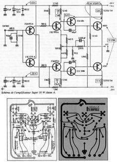 Jean Hiraga Super Class-A Amplifier Schematic and PCB Electronic Kits, Electronic Schematics, Hobby Electronics, Electronics Projects, Speaker Amplifier, Speakers, Electrical Projects, Circuit Diagram, Arduino