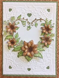 Sunflower Card- Handmade by Carol Using Heartfelt Creations Sunflower Stamp and Die and Classic Wedding Roses Stamp and Die Embossing Folder Xcut Hearts All available on our website