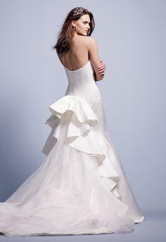 Truly Zac Posen Strapless Duchess Satin Fit and Flare Gown Style ZP345004 #davidsbridal #weddingdress #blacktiewedding