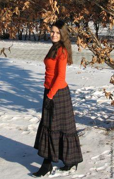 Юбка в стиле бохо с кармашками `Тёмный лес`. Holiday dressing.