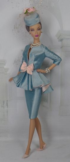 Courtly Blue for Silkstone Barbie and Victoire Roux OOAK Doll Fashion Barbie I, Vintage Barbie Dolls, Barbie World, Barbie Dress, Barbie Clothes, Barbie Patterns, Doll Clothes Patterns, Fashion Royalty Dolls, Fashion Dolls