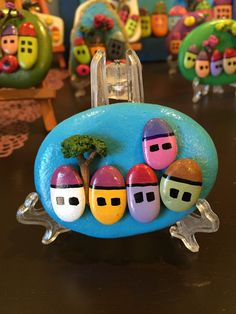 Handmade Painted Rock/Stone Houses as Gift, Decor or Paper Weight (Small) by Tulince on Etsy https://www.etsy.com/listing/257192185/handmade-painted-rockstone-houses-as