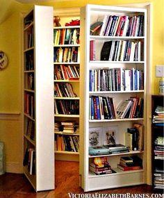 facebook.com/LaraAdrianBooks/photos---Lara Adrian Books  Behind the bookcase is...another, secret bookcase?!? Genius!