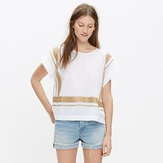 Swingy and simple, this cropped cotton top has an easy, boxy shape. It's trimmed in supersoft embroidery inspired by a vintage piece one of our designers picked up in Morocco. <ul><li>Cropped fit.</li><li>Cotton.</li><li>Machine wash.</li><li>Import.</li><li>Madewell.com only.</li></ul>