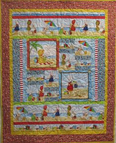 Baby Girl Quilt  Babies on the Beach by QuiltsintheCity on Etsy, $70.00