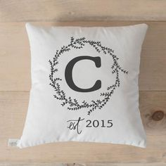 Personalized Wreath Initial and Year Pillow