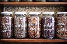 Melissa Erboristeria | Turin  Beautiful Tea in jars...I also like the shelves :D