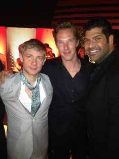 whatareyouwearingbenedict:    So Martin… Are you supporting Benedict's open buttons with having ALL YOUR FUCKING BUTTONS OPEN I MEAN WHAT? You have a scarf, so it's clearly not a oh let's show some skin in this heat-kind of thing. Button a few, will you hun?    Oooh, Feeling sassy tonight, are we, Martin?I must say, I am a fan of the brightly coloured scarfs and things you wear!  And Benedict is looking adorable as ever!