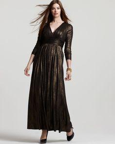 David Meister V-Neck Metallic Gown   Bloomingdale's