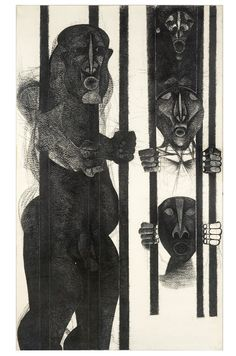 Dumile Feni, The Prisoner, 1971 African Traditions, South African Artists, Western Art, Artist At Work, Art World, Art And Architecture, Light In The Dark, Printmaking, Street Art