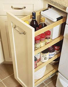 No room for a dedicated pantry? Cabinet manufacturers offer slide-out units that fit into standard base-cabinet openings, or gaps between cabinets. This pantry, from Kraftmaid, is just nine inches wide; kraftmaid.com.