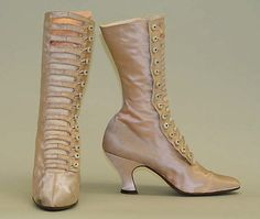 1910-20 Leather and silk openwork button boots. Labeled Edward Hayes, 9 West 29th Street.  See them at http://www.metmuseum.org/Collections/search-the-collections/80006003#
