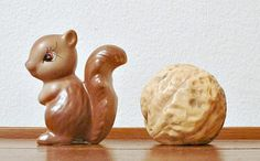 Vintage Squirrel Walnut Salt and Pepper Shakers by ClassicMemories