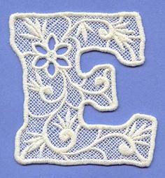 Alphabet Lace - Letter E Big Letters, Letter E, Monogram Alphabet, Alphabet And Numbers, Alphabet Templates, Embroidery Alphabet, Lace Making, Cool Fonts, Machine Embroidery Designs