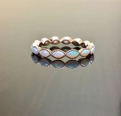 14K Rose Gold Eternity Opal Engagement Band Rose by DeKaraDesigns