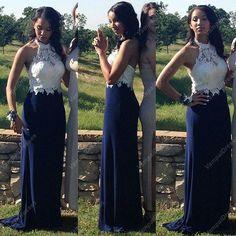 158.00$  Watch now - http://vizeq.justgood.pw/vig/item.php?t=9jtnoo050503 - Navy Blue Elegant Halter Lace Bodice Chiffon Mermaid Bridesmaid Dress 158.00$
