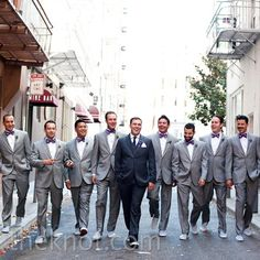 Love this look but with purple ties! Groom in a darker suit and sneakers instead of dress shoes
