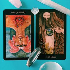 7/19/16: Queen of Cups reversed and Five of Discs encourages us to look beyond the surface level of our emotions and physical circumstances and discover the paradise within.  Emotions are funny things. They have the capacity to speak the content of our heart's desires, love and intention, to help us heal ourselves and others, but also to bring us into the murk of dissatisfaction and disappointment. Emotions also have much more power than most give credit. Like water slowly eroding a rock…