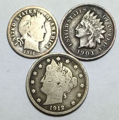 Coin lot w/ Barber dime, Indian Head penny w/ full LIBERTY & a Liberty V nickel.
