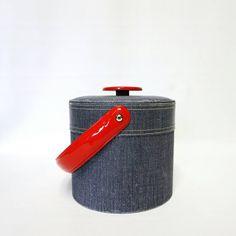 Vintage Georges Briard Ice Bucket - Denim / Jean Look - Vinyl Barware - Red White and Blue - MOD - Americana - Mid Century Modern - Retro