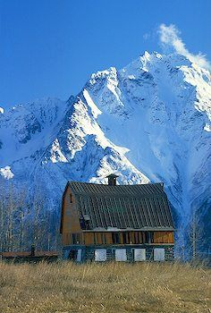 historical barn, Matanuska Valley with Pioneer Peak in the background, Alaska.