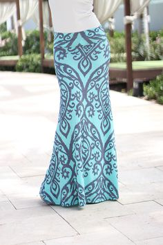 Aqua And Gray Printed Maxi Skirt