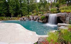 Go All Natural Modern with Waterfall Pool: Peaceful Pool Retreat In New York