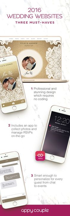 3 must-haves for every wedding website. Appy Couple has these (and more) plus a personalized app.