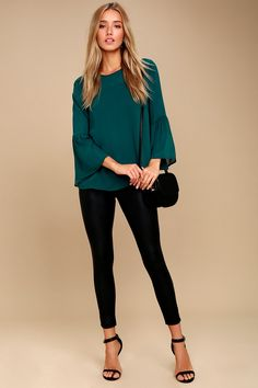 Meet Me in the City Teal Blue Long Sleeve Top 2 Teal Outfits, Casual Work Outfits, Winter Outfits, Casual Mom Style, Meeting Outfit, Teal Shirt, Blue Long Sleeve Tops, Teal Blue, Casual Tops