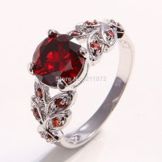 Fashion Jewelry 18K White Gold Filled Ruby  Ring