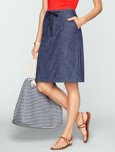 Talbots - Chambray Utility Skirt | Pack For Vacation 2014