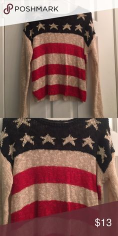 Forever 21 knit sweater American flag knit sweater.. Worn once. Perfect condition Forever 21 Sweaters