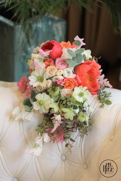 A piece of art, featuring the colour of the year. One of our best pieces of bridal bouquets for 2019 Bridal Bouquet Coral, Live Coral, Enchanted Garden, Color Of The Year, Summer Wedding, Art Pieces, Floral Wreath, Wreaths, Bride