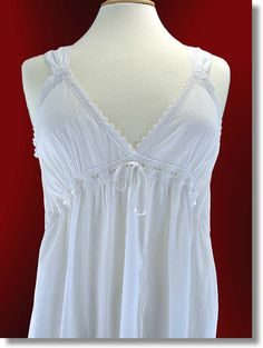 cotton nightgowns victorian | very feminine nightdress, with it's subtle rose embroidery ...