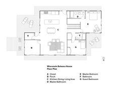 Wisconsin Balance HouseFloor PlanA ClosetB PorchC Kitchen-Dining-Living AreaD Master BathroomE Master BedroomF BathroomG Guest Bedrooom  Photo by: Ackerman + Gruber