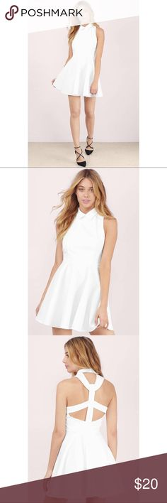 """7th & Broadway White Skater Dress MAKE ME AN OFFER  worn once  side ziper and eye closure """"dress it up like a boss in the 7th & Broadway Skater Dress.  It's perfect for work and play with its structure collar and T-Back zipper couture.  Style it with flats and a bucket bag for the office, or pair it with platform ankle booties and a studded clutch for a night out."""" - Tobi  Love this dress but I haven't worn it in awhile so it's time to find a new home 😊 Tobi Dresses Mini"""