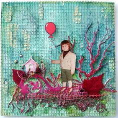 Mixed media layout with red embellishments.