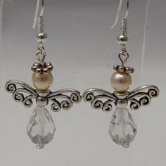 Engel - angel - Schutzengel - guardian angel-Ohrhänger-earring -Winterschmuck - Weihnachten-christmas-Swarovski Crystal - Tropfen - Perlen-