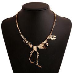 Nouveaux Bijoux de mode Gothique Tyrannosaurus Rex Squelette de Dinosaure Pendentif Collier Or Argent Chaîne Choker Collier Pour Les Femmes